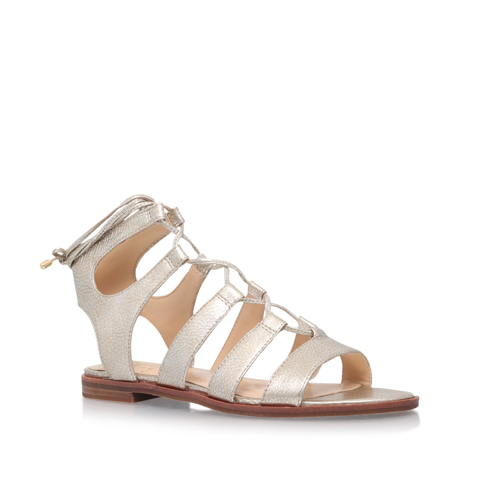 Vince Camuto Tany Gold Flat Sandals By Vince Camuto