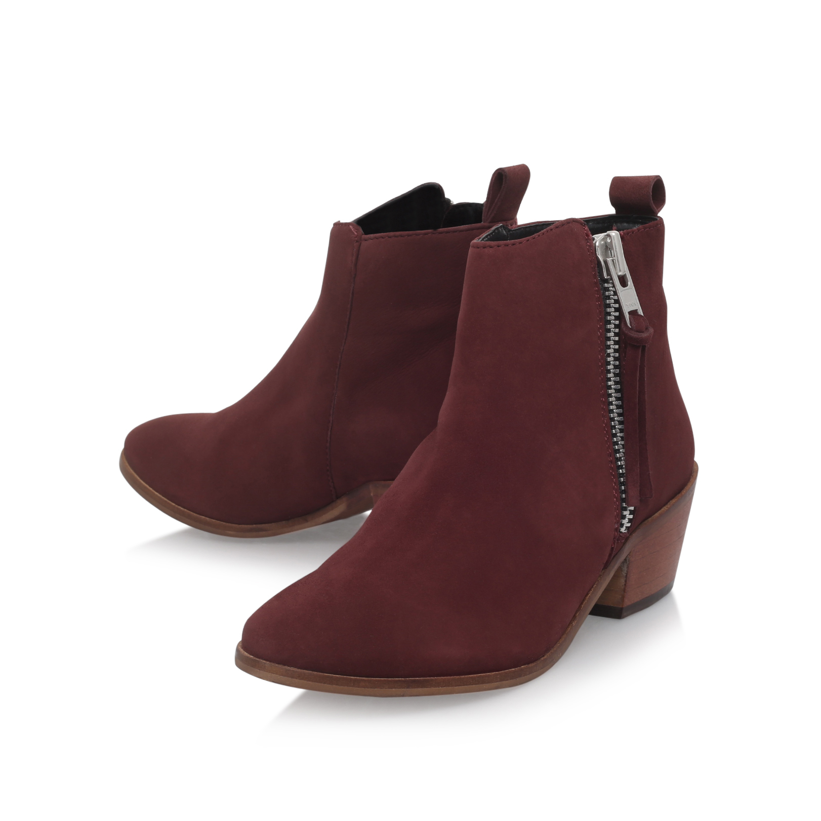 b0a448be177 SHOOTER Carvela Shooter Wine Leather Flat Ankle Boots by CARVELA