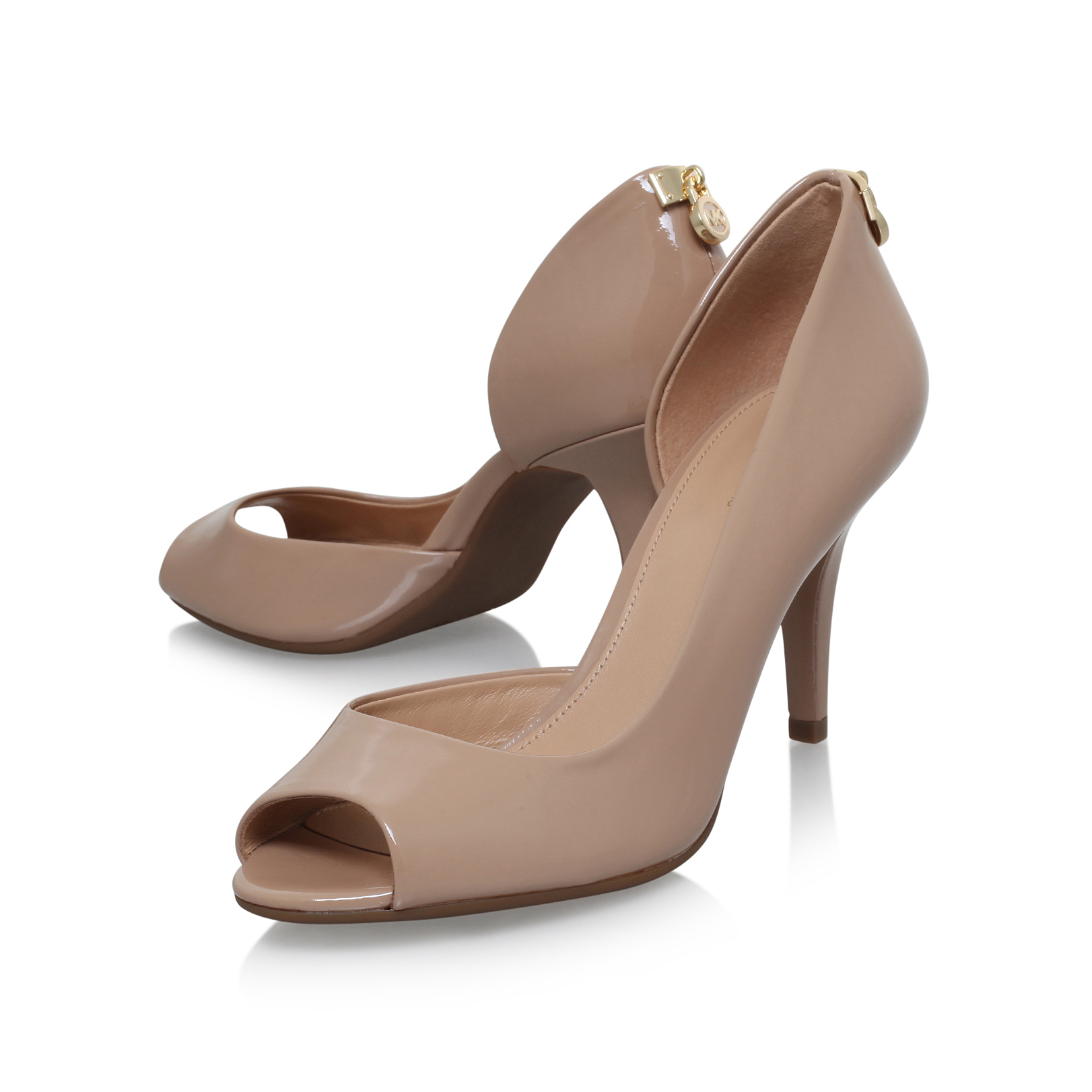 Camel Patent High Heel open toe court shoes Ohm0ayVFEC