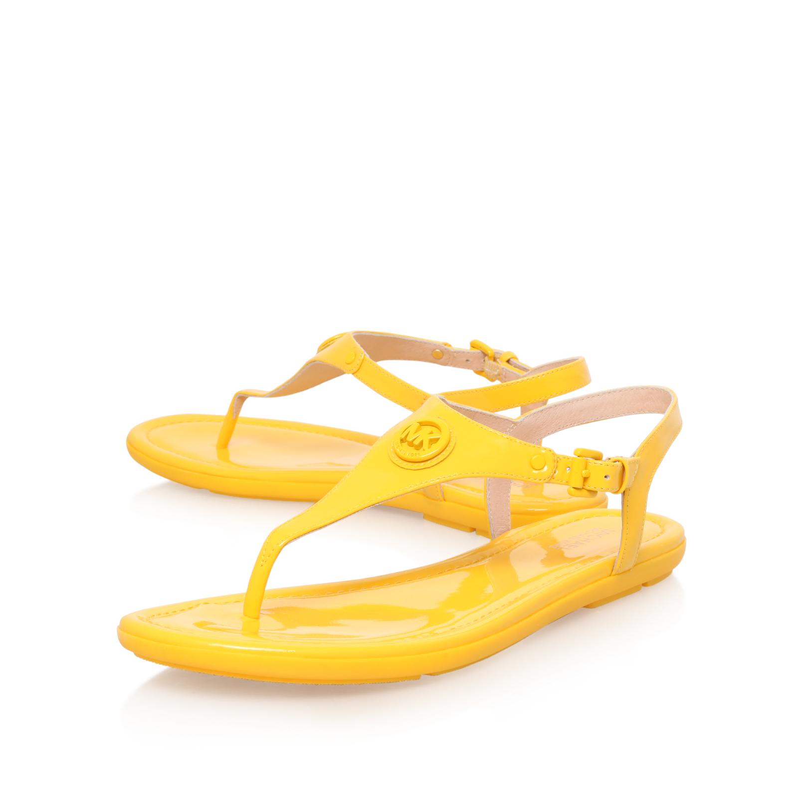 RAMONA THONG Michael Michael Kors Ramona Thong Yellow Patent Flat Sandals  by MICHAEL MICHAEL KORS
