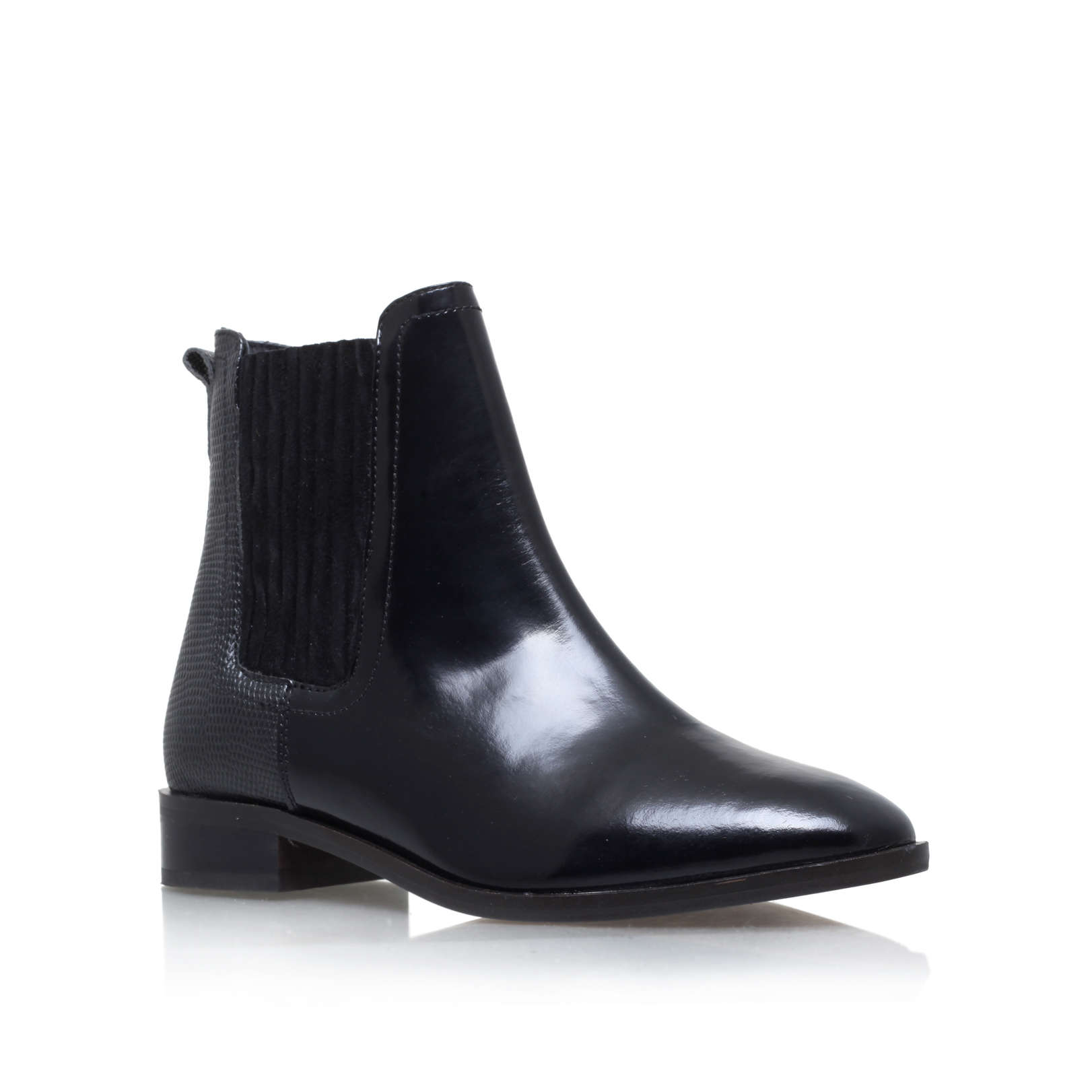 staple kg kurt geiger black leather flat ankle boots by kg