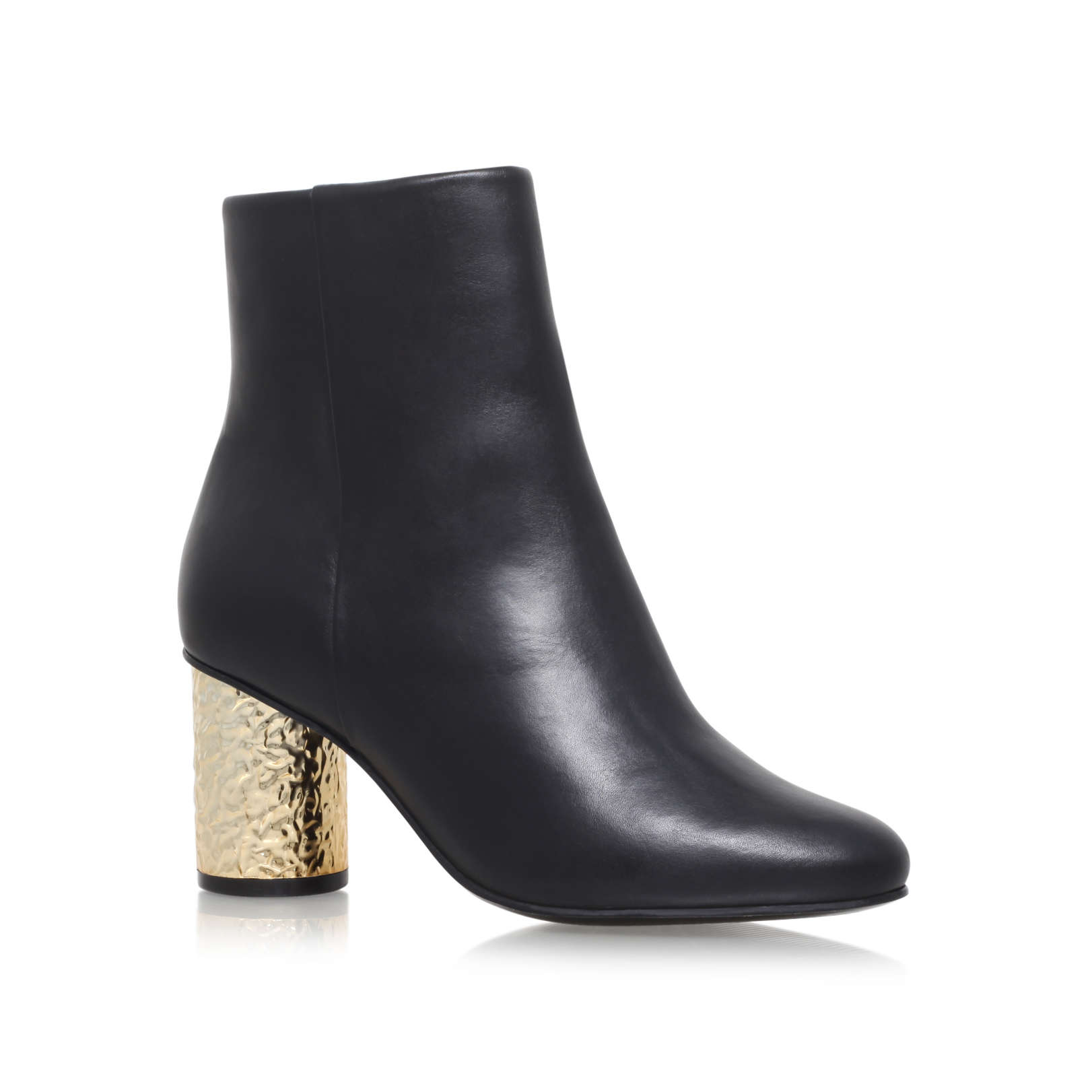 NOBLE Kurt Geiger Noble Black Leather Gold Heel Ankle Boots by ...