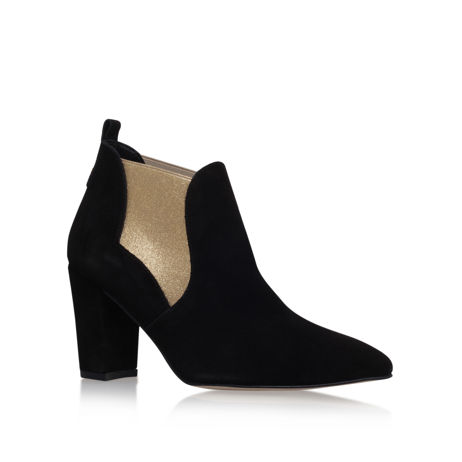 SUEDE ANKLE MID HEEL BOOT