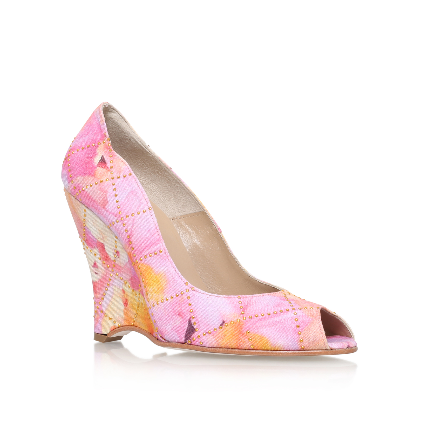 FLORAL SATIN WEDGE