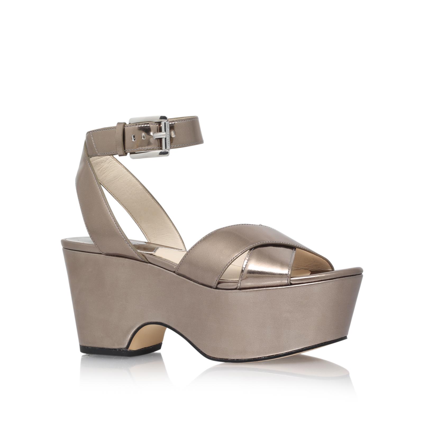372c8ea0b49 ARIEL MID WEDGE Michael Michael Kors Ariel Grey Leather Wedge Sandals by MICHAEL  MICHAEL KORS