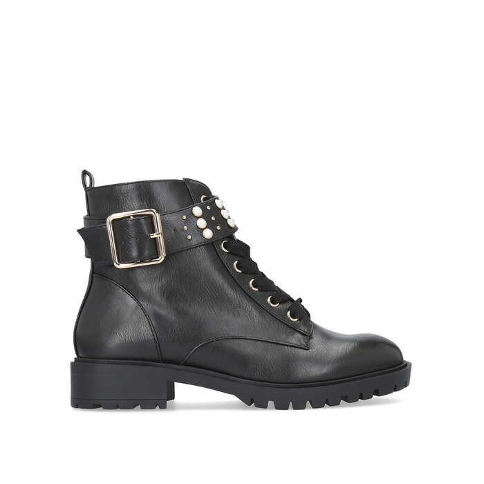 HATTY Black Pearl Lace Up Biker Boots