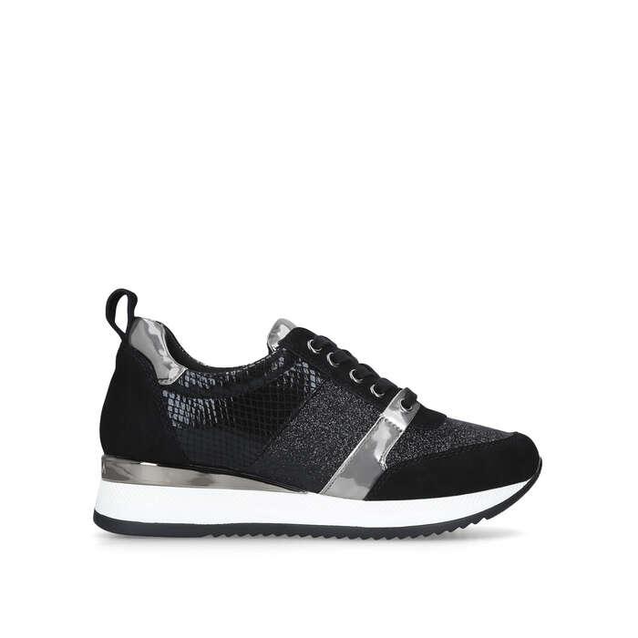 JUSTIFIED Black Glitter Sneakers by