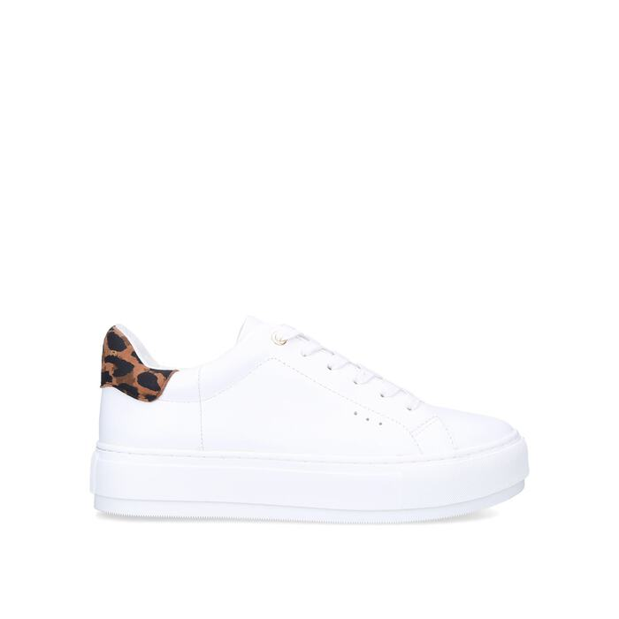 LANEY White And Leopard Print Leather