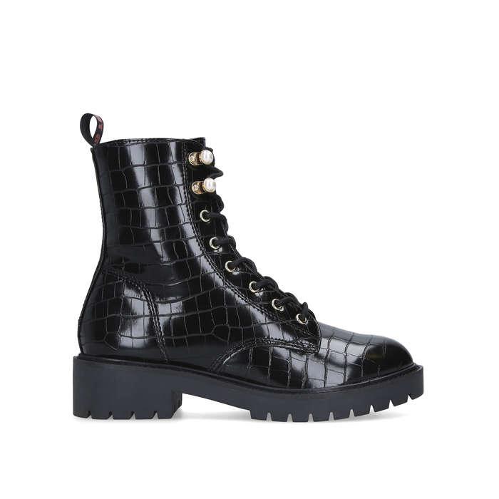 TILLY Black Croc Print Biker Boots by