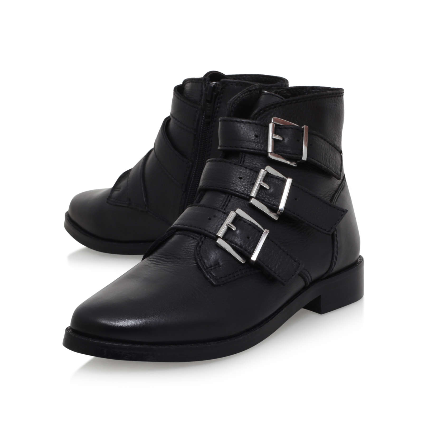 total carvela total black leather flat ankle boots by