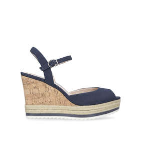 eaab11373ab Debi. Navy High Heel Wedge Sandal