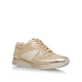Allie Plate Wrap Train Gold Flat Low Top Trainers from Michael Michael Kors