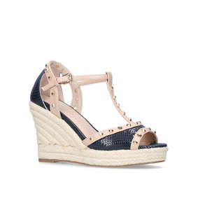 cc1c4a9386f Stark Navy Mid Heel Wedge Sandals from Carvela