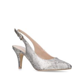 Kicker Slingback. Gold Mid Heel Court Shoes