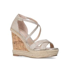 Sublime Metallic Gold High Heel Wedge Sandals from Carvela