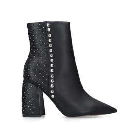 efb6414b71bf Tyra. Black Studded Block Heeled Ankle Boots