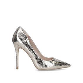 d6703b716db3 Krisp. Metallic Gold Stiletto Heel Court Shoes