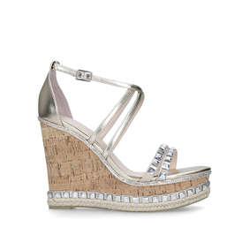 617a550856f6b Grab Gold Embellished High Heel Wedge Sandals from Carvela