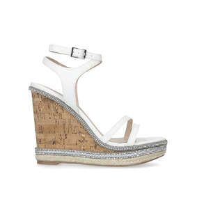 45633662b59798 Gentle White Embellished Wedge Sandals from Carvela