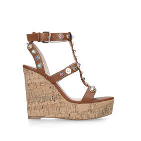 b92284171f2 Gladly Tan Studded Cork Wedge Sandals from Carvela
