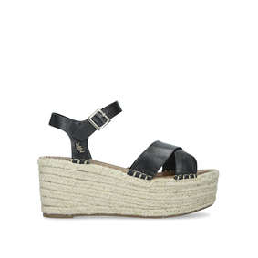 a708db46905 Arlo Black Leather Espadrille Wedge Heeled Sandals from Kurt Geiger London. New  In