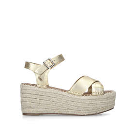 0fc47bb2040 Arlo Gold Espadrille Wedge Sandals from Kurt Geiger London