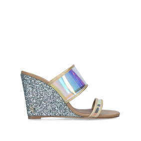 6874adf3f8e Charing. Blue Perspex Glitter Wedge Sandals