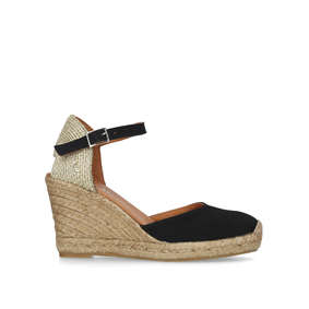 ece46e76400 Monty. Black Espadrille Wedge Sandals