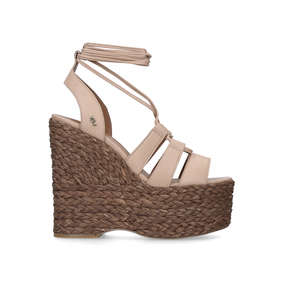 bec0c09c247b Nova. Nude Leather Lace Up Wedge Sandals