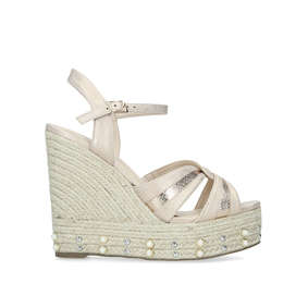 a21e6d98137e Dani. Nude Studded Espadrille Wedge Sandals
