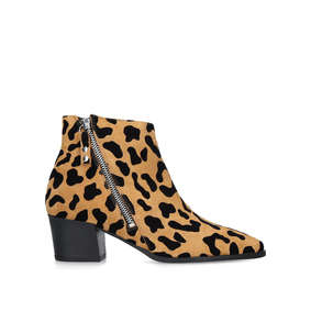 08bf1e866a77 Sacriledge. Leopard Print Suede Block Heel Ankle Boots