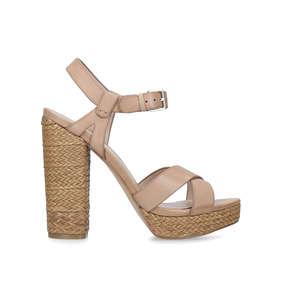 0e36b32e8ba84 Mittie. Tan Leather Block Heel Platform Sandals