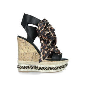 bc39729574dd Rosa High Heel Wedge Sandals With Leopard Print Ties from KG Kurt Geiger.  New In