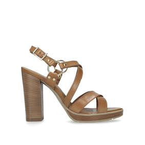 c3ad2d5fcc9 Karmen. Tan Block Heel Strappy Sandals