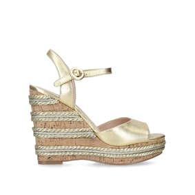 b040c9c6286 Ally 2 Gold High Heel Wedge Sandals from Kurt Geiger London