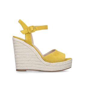 8a50caf4580f Ybelani Yellow Suede Wedge Heeled Sandals from Aldo