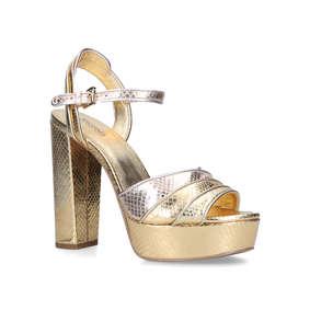 a1b18cb25e17 Harper Platform. Gold Snakeskin Platform Heeled Sandals