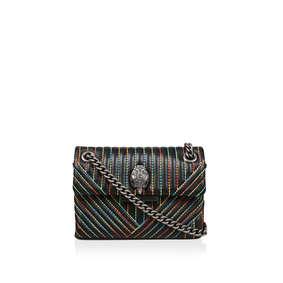 9829c59125da Lthr Mini Kens V Bag Black Mini Shoulder Bag With Rainbow Stitching from  Kurt Geiger London