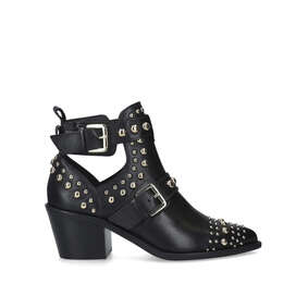 8b9505043afb8 Sybil Black Gold Studded Block Heel Ankle Boots from Kurt Geiger London