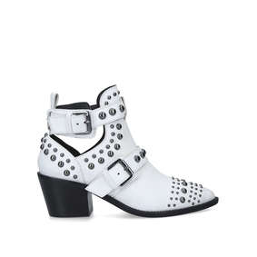 9bd7c5cdbcc5 Sybil White Studded Block Heel Ankle Boots from Kurt Geiger London