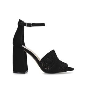c4317a9f0db Gidge. Black Flared Heel Strappy Sandals