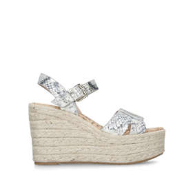 9110b0a0d Maura. Snake Print Leather Espadrille Wedge Heels