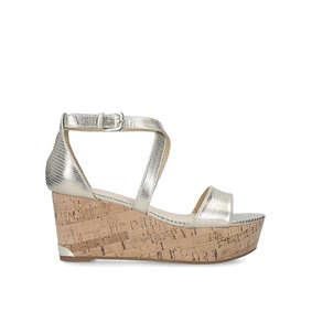 e1f6c68c8702 Violet. Metallic Gold Wedge Heel Sandals