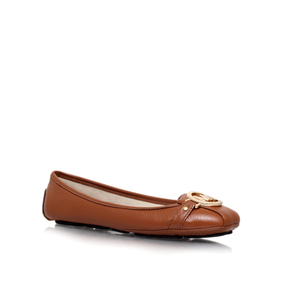 Fulton Moc. Tan Flat Ballerina Shoes