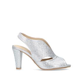 4479d1a82df Arabella. Silver Jewelled Mid Heel Sandals