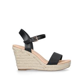 e7a76e442a0 Paulina. Black Mid Heel Wedge Sandals