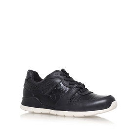 Deaven Croco Black Flat Lace Up Trainers from UGG