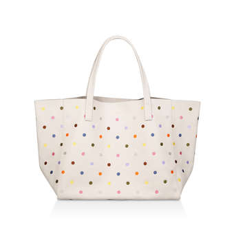 3be0496c40 Violet Horizontal Tote. Cream Leather Rainbow Spotted Tote Bag