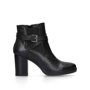 981dbf01a62d Silver. Black Leather Block Heel Ankle Boots