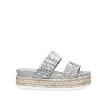 ddc9e66975e2d2 Belize. Grey Embellished Flatform Sandals